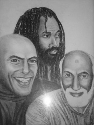 Hugo Pinell, Mumia Abu Jamal and Nuh Washington are political prisoners Kiilu Nyasha has corresponded with during their decades behind enemy lines. Washington was never able to regain his freedom, having died in prison of cancer in 2000. - Drawing: Kiilu Nyasha