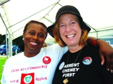 In June Cynthia McKinney teamed up with Cindy Sheehan in mutual support as they both ran for office – Cynthia as the Green Party candidate for president and Cindy as an independent for Nancy Pelosi's seat in Congress.