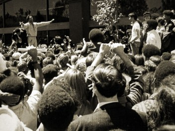 "Though Huey P. Newton, Ph.D., was a brilliant man who drew crowds whenever he spoke, he described himself as ""a rather shy individual. I wouldn't consider myself to be very charismatic; I never did anything hero-like, I just worked on some little community programs."" This photo was taken on Aug. 5, 1970."