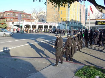 Immediately after Johannes Mehserle, the cop who executed Oscar Grant, was granted bail on Friday, a small army of Oakland police prepare at 14th and Jackson to protect downtown Oakland property from the people …