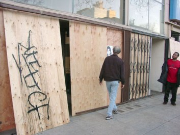 … as windows are boarded up along 14th Street. – Photos: Dave Id, Indybay