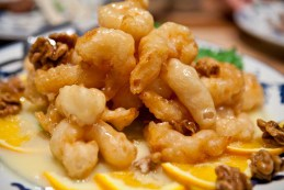 Closeup of the walnut prawns