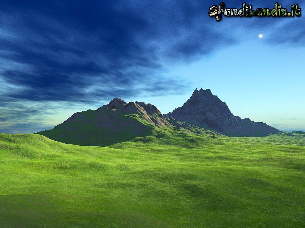 Fantasy 3d Wallpaper Desktop Sfondilandia It Sfondo Gratis Di Montagne Verdi Per