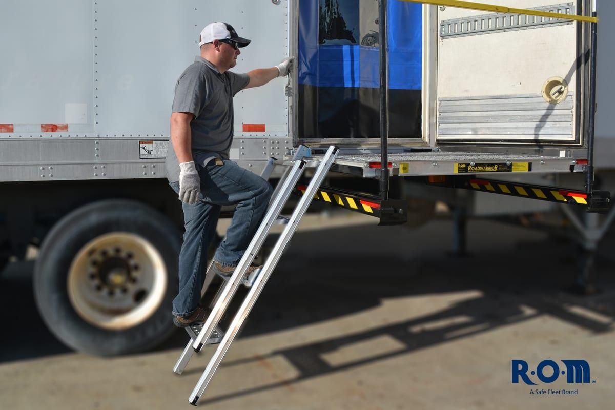 Rom Sidestep Portable Ladder From Safe Fleet Truck Trailer