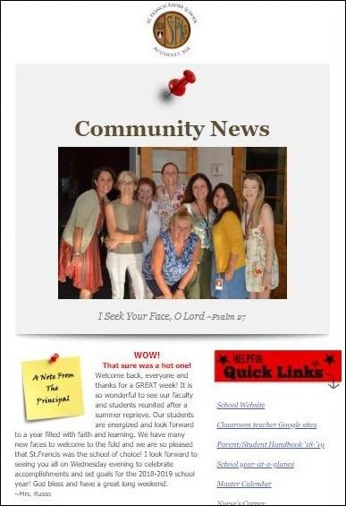 weekly school newsletter - Saint Francis Xavier Elementary School