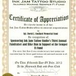 Ink Jam Tattoo Studio fund raiser for the Semper Fi Fund