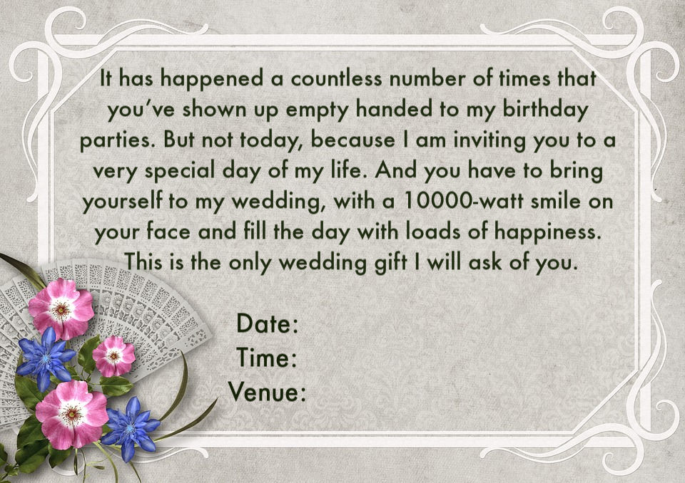 Wedding Invitation Wordings For Friends, Invite Quotes  Messages