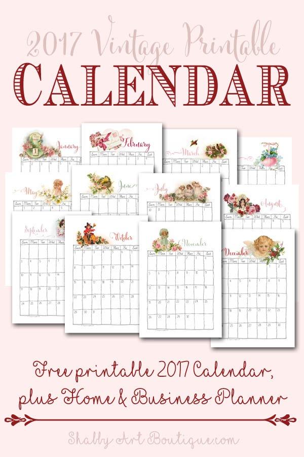 Free 2017 Vintage Printable Calendar - Shabby Art Boutique
