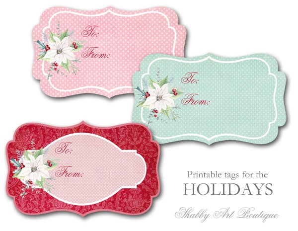 Free printable Christmas Wrap Paper and Tags - Shabby Art Boutique