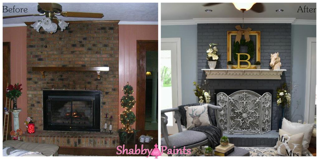 Chalk Acrylic Painted Fireplace Brick Shabby Paints