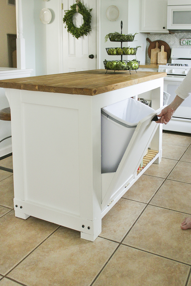 DIY Kitchen Island with Trash Storage - Shades of Blue Interiors - kitchen trash can ideas
