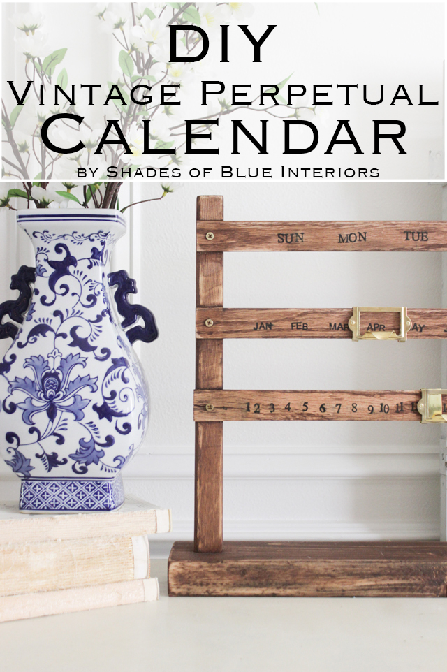DIY Vintage Perpetual Calendar - Shades of Blue Interiors