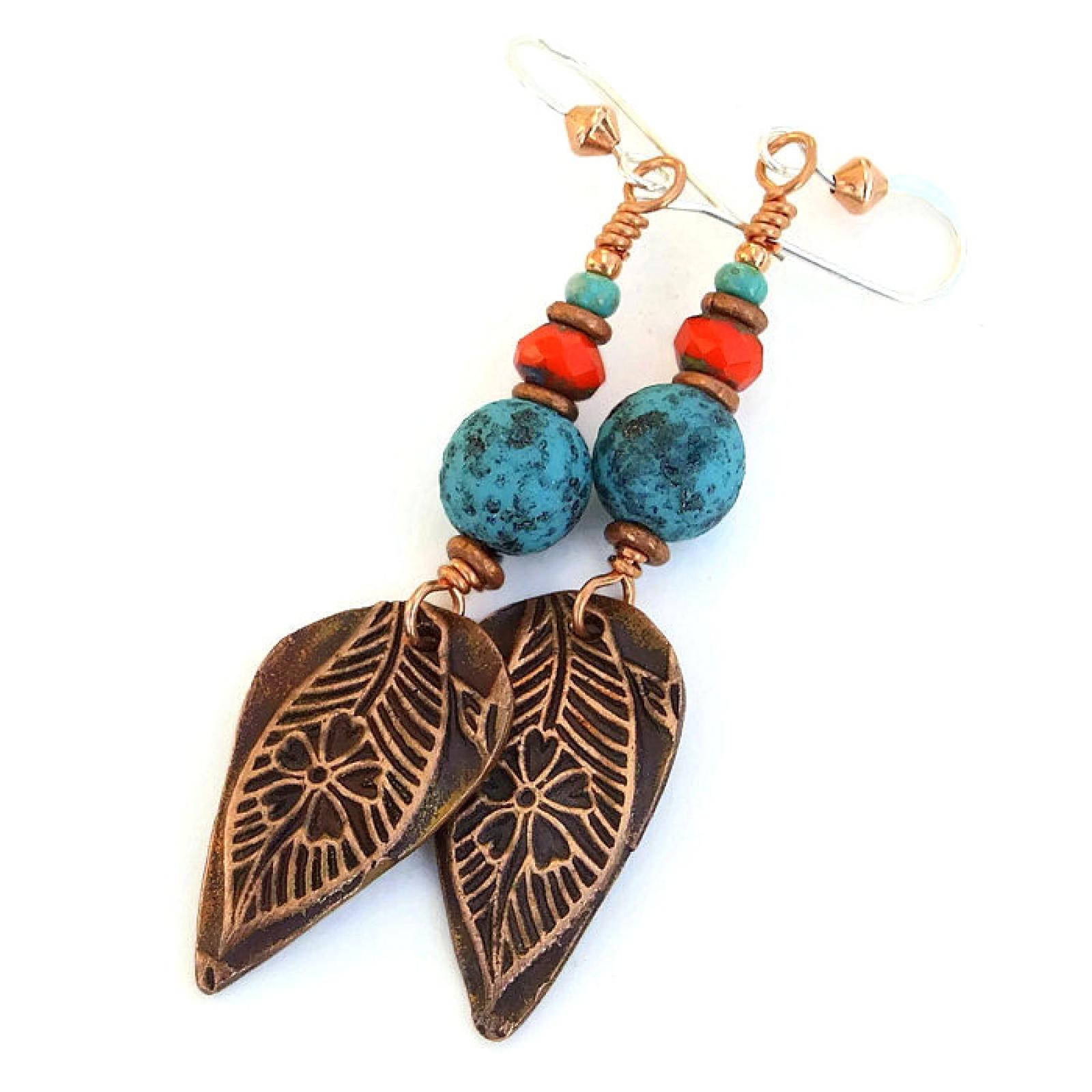 Leaf Flower Earrings, Handmade Jewelry Gift Copper