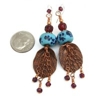 Rainforest Leaf Boho Earrings, Copper Garnet Lampwork