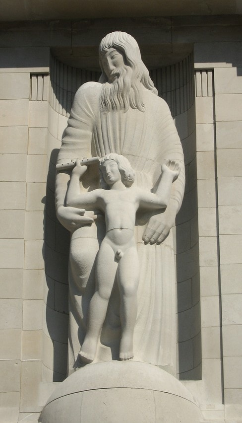 Sculpture of Prospero & Ariel at the BBC, Eric Gill, 1932