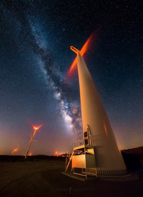 Wind Turbine Milky Way Night Sky