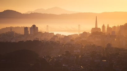 San Francisco Bay Bridge City Sunrise