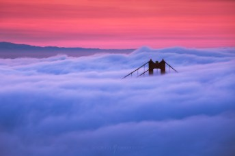 Golden Gate Bridge Fog Colorful