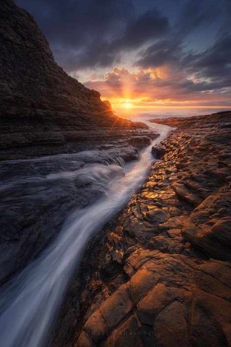 ocean, sunset, seascape