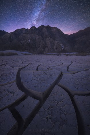 Death Valley Milky Way Cracks Desert