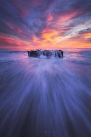 Beach, sunset, davenport, california