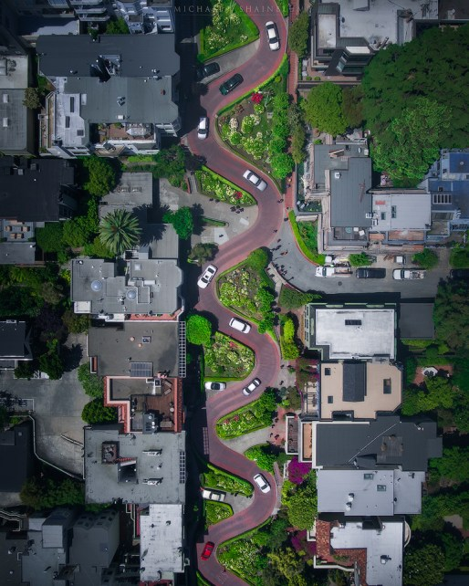 Lombard Street Aerial San Francisco Photography