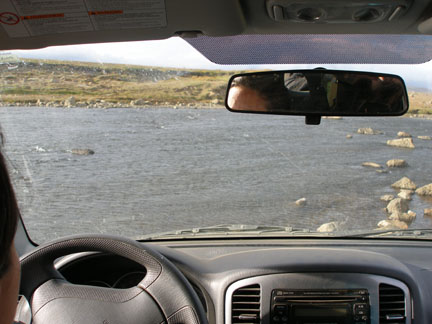 Fording a river on the way to Hvítárnes. Henar drove across, and I drove back across the next morning. Exciting!