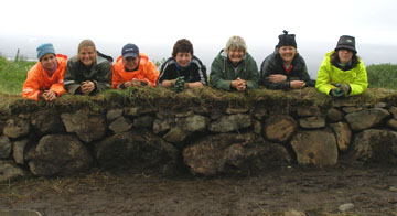 Here we are atop one section of the rebuilt sheep fold wall. It is WAY harder than it seems.