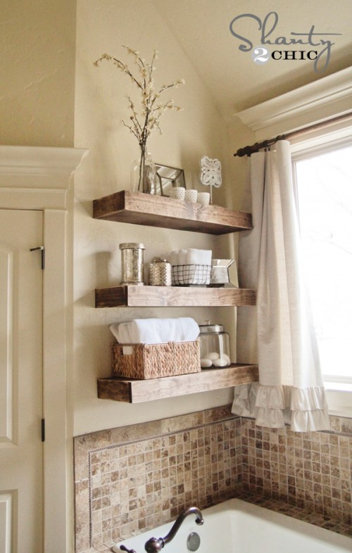 DIY $15 Floating Shelves