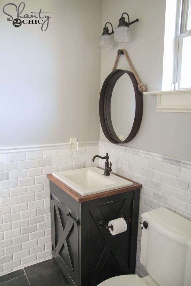 Diy Farmhouse Bathroom Vanity - Shanty 2 Chic