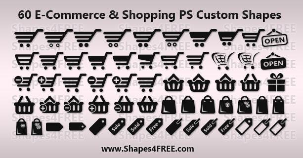 60 Shopping/E-Commerce Photoshop  Vector Shapes (CSH) Photoshop
