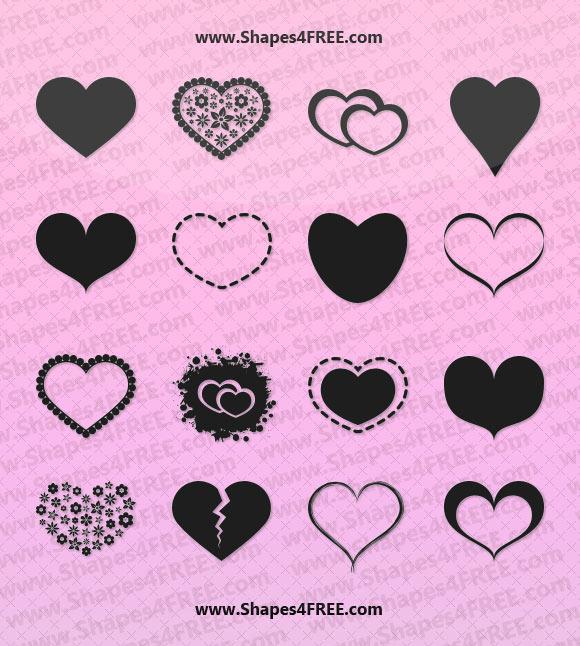 55 Hearts Photoshop  Vector Shapes (CSH) Photoshop Custom Shapes