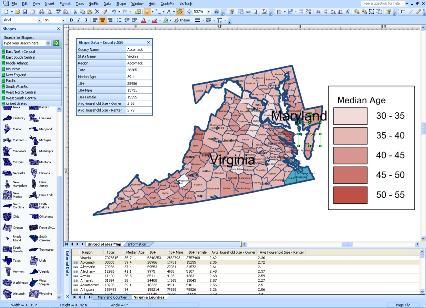 Visio MapShapes for States and Counties In United States - Free