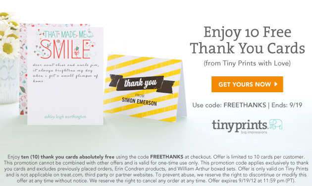 10 Free Thank You Cards from Tiny Prints - Home Cooking Memories - free thank you cards