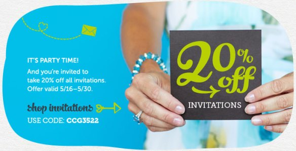 It's Party Time! And You're Invited to Take 20% Off All Invitations at Cardstore! Use Code: CCG3522, Valid 5/16 through 5/31/13. Shop Now!