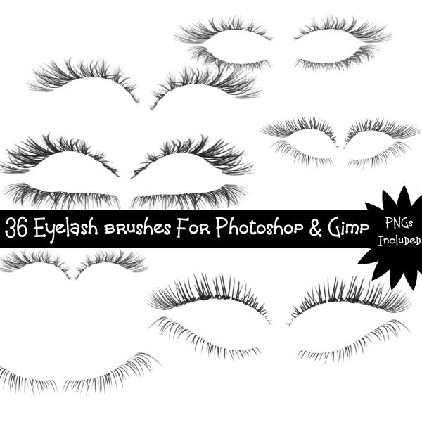 36 Eyelash Brushes For Photoshop, Gimp Or Other - 2D Resources