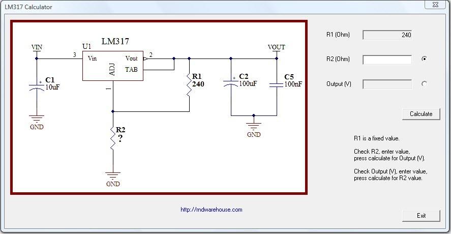 Download free LM317 Voltage Regulator Calculator by RnD Warehouse v