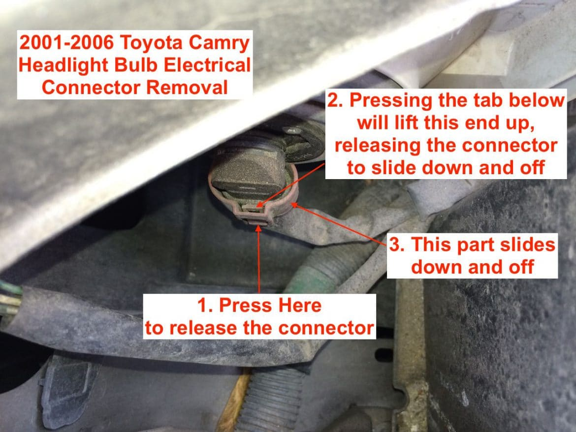 how to replace headlight bulb on toyota camry 2001 2006 share your repair. Black Bedroom Furniture Sets. Home Design Ideas