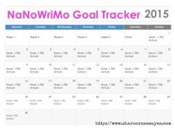 NaNoWriMo Goal Tracker 2015 #NaNoWriMo #amwriting