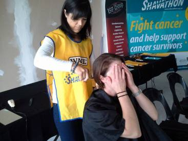 First lady to go short at the George Herald corporate Shavathon 02