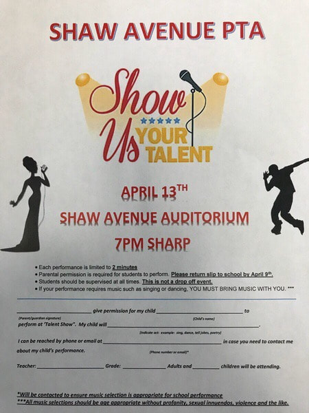Talent Show Flyer - Shaw Avenue PTA