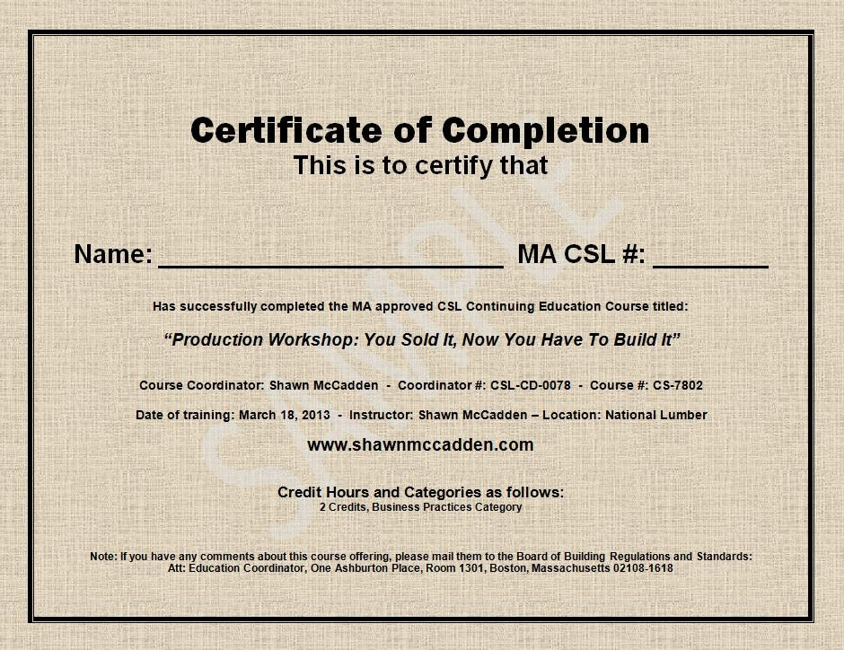 Awesome Sample Certificate Of Completion Ideas - Best Resume