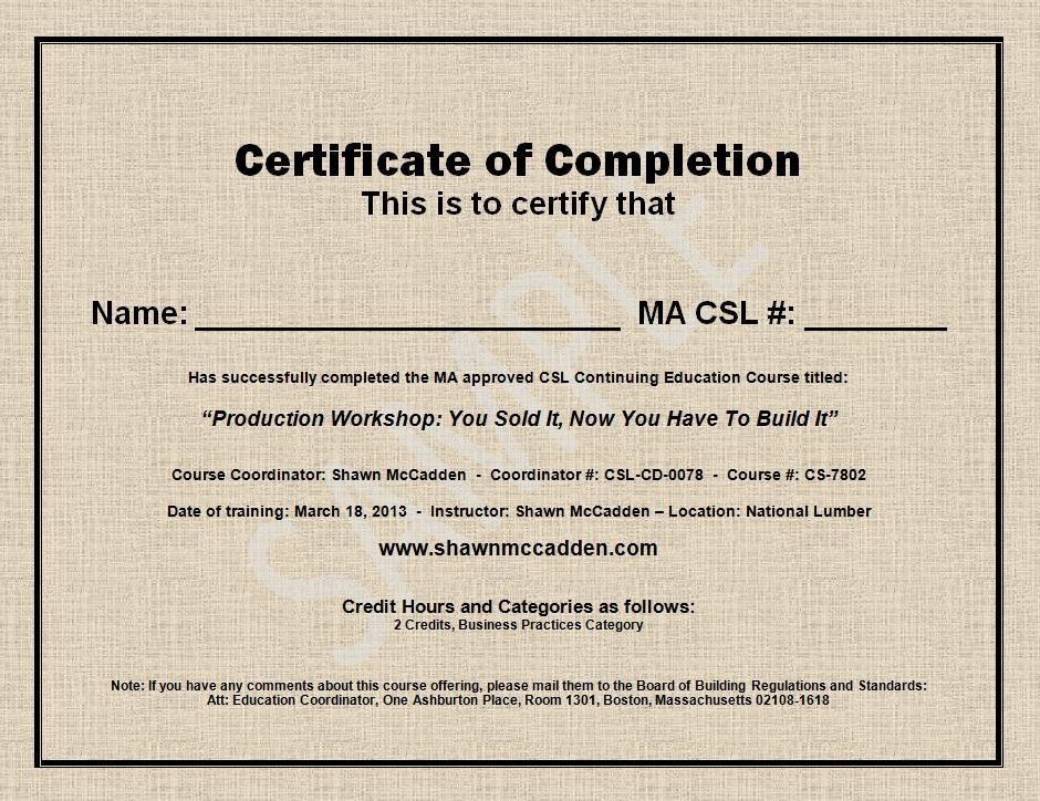 Sample MA CSL CEU Course Completion Certificate - sample of certificate of training completion