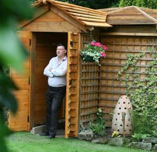 "The winner of shed of the year 2012 - is the pub shed ""Woodhenge"" owned by John Plumridge"