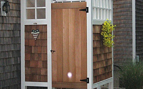 I never thought outdoor showers are like a shed - but these are lovely