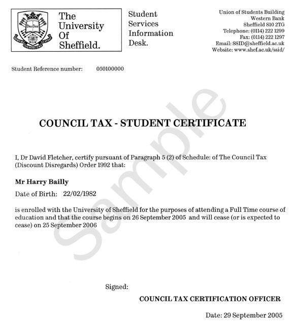 Example of certificate - Council Tax - SSiD - The University of