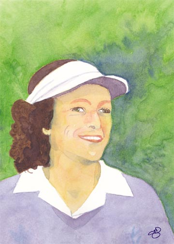 Babe Didrickson-Zaharias. Watercolor on 140 lb. cold press paper. 5 x 7, © 2013 Sheila Delgado