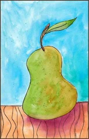 Pear. 5 x 7 in. watercolor and pen. © 2016 Sheila Delgado