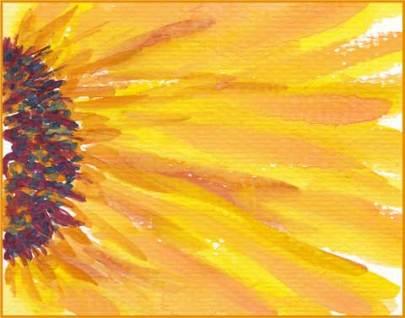 Small Sunny One. 2.5 x 3.5 ATC. Watercolor on paper. © 2016 Sheila Delgado