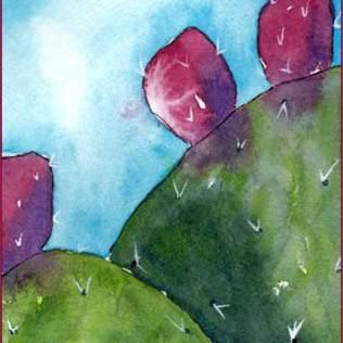 Noble Nopales. 4 x 6 watercolor on Arches 140 lb. cold pressed paper. © 2016 Sheila Delgado